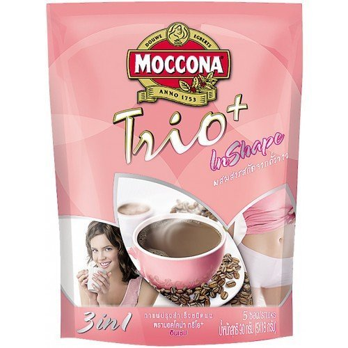 Moccona : Trio Plus in Shape Instant Coffee with White Kidney Bean 18g X 5 Sachets Best Seller of Thailand