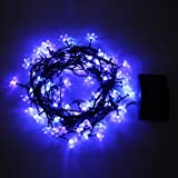 Innoo Tech Blue LED Fairy String Lights Solar Powered For Outdoor Party Garden Christmas Tree(80 Blossom)