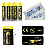 Bundle:4Packs Nitecore Nl183 2300mAh 18650 Li-ion Rechargeable Battery 3.7V 8.5Wh CE UL RoHS Certification with EASTSHINE EB182 Battery Case(4*Nitecore NL183 Battery+2*EASTSHINE Battery Box)
