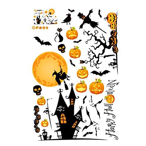 Gosear® Autocollant Sticker pour Décoration de Halloween Pumpkin Scarecrow Style