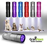 UV Black-Light Flashlight Pet Urine Detector. Ultra-Bright Led Cordless Stain Finder for Detecting Dry Dog Cat and Pet Urine/Pee. GranPaws® Stain Seeker SILVER Color. A Unique Gift Giving Idea.
