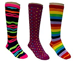SUPERSOX COTTON NEON LONG SOCKS (PACK OF 3) (Free Size)