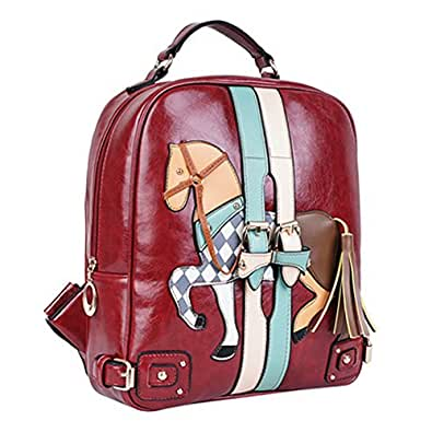 Grebago Women's Jigsaw Pony Backpack Shoulder Bag Hand Bag Multifunction College Wind Bag