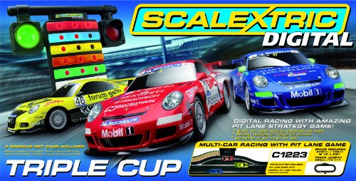 Scalextric C1223 1:32 Scale Triple Cup Digital Race Set with Pit Stop Lane Game