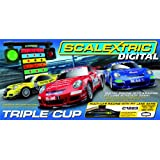 Scalextric C1223 1:32 Scale Triple Cup Digital Race Set with Pit Stop Lane Gameby Scalextric
