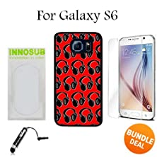 buy Headphones Dj Pattern Red Custom Galaxy S6 Cases-Black-Plastic,Bundle 3In1 Comes With Hd Tempered Glass/Universal Stylus Pen By Innosub