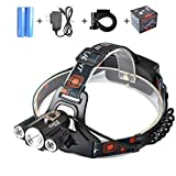VELRAPCOR Brightest LED Headlamp, CREE 1 T6+2 R5, 4 Modes, 5000 Lumens, Rechargeable 18650 Batteries, Charger
