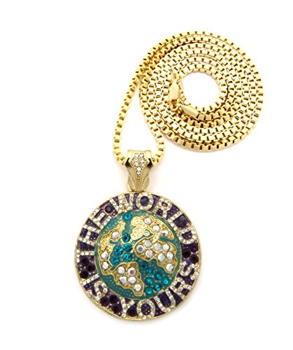"The World Is Yours Pave Mini Globe Pendant With 3Mm 30"" Box Chain - Aqua/Plum/Gold-Tone"