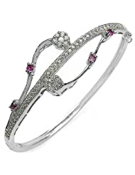 Appealing Red Cubic Zircon & White Cubic Zircon .925 Sterling Silver Bangle