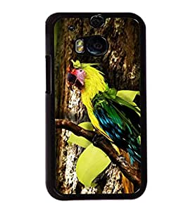 printtech Wild Colorful Parrot Tree Back Case Cover for HTC One M8::HTC M8