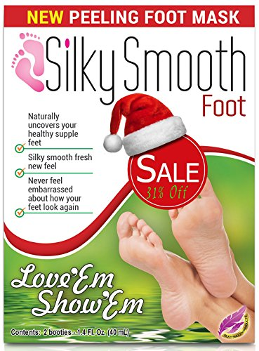 Christmas Deal – Foot Exfoliating Mask and Peel Lotion – 1 Pair of No-spill, No-mess Socks – Easy Natural Peeling Using Fruit Acids from Ginger, Papaya and Chamomile Extracts – Removes Calluses & Dead Skin – Repairs Cracked Heels – Recovers Your Beautiful Baby Silky Smooth Feet in 10-14 Days – Scrub Soak – Satisfaction Guaranteed!