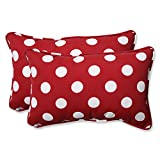 Pillow Perfect Decorative Red/White Polka Dot Toss Pillows, Rectangle, 2-Pack