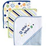 Luvable Friends 3-Pack Embroidered Sayings Hooded Towels - Blue