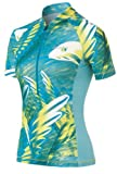 Odlo Women's Stand up collar short sleeve 1/2 zip Sky Cycling Small Pool Blue/ Capri Breeze/ Blazing Yellow