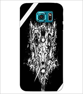 PrintDhaba Lion Face D-2222 Back Case Cover for SAMSUNG GALAXY S6 EDGE (Multi-Coloured)