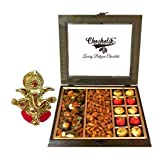 Chocholik Heavenly Treat Of Almonds, Cashew, Raisin Box With Chocolate Surprising Box With Ganesha Idol - Chocholik...