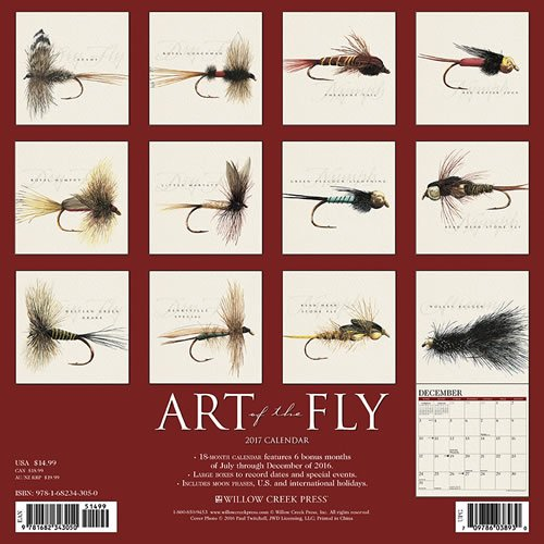 2017 Art of the Fly – by Paul Twitchell Wall Calendar Fishing Angler {jg} Great Holiday Gift Ideas – for mom, dad, sister, brother, grandparents, gay, lgbtq, grandchildren, grandma.