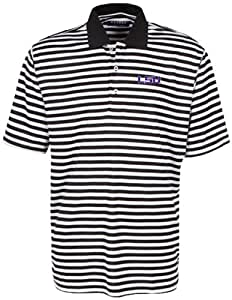Oxford NCAA LSU Tigers Men's Bar Stripe Golf Polo, Black/White, 3X-Large