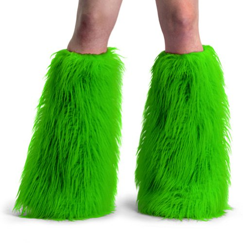 Women's Boot COVERS Sexy Faux Fur Boot SLEEVE Theatre Costumes Accessory Neon Green