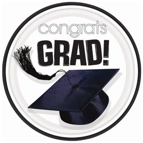 Congrats Grad White Graduation Dinner Plates