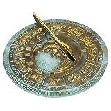 Rome 2336 Lunar Zodiac Sundial, Solid Brass with Verdigris Highlights, 8.5-Inch Diameter