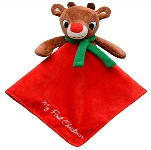 "Baby's Plush Rudolph the Red-Nosed Reindeer Rattle ""My First Christmas"" Security Blanket"