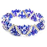 Bleek2Sheek Cobalt Blue AB Crystal and Rhinestone Stretch Bracelet