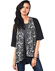 Besiva Women'S Black And White Printed Cardigan, Quarter Sleeve, Reversible.