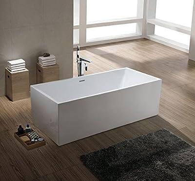 """freistehende Designer Badewanne """"Reto"""" - modernes Design - durchgefärbtes Sanitäracryl, weiß - 100% gegossen, Top-Qualität - inkl. Überlauf und Pop-up Ablaufgarnitur - Wasserinhalt: 306 Liter - 5 Jahre Garantie - hergestellt nach ISO 9001 - in Versa..."""