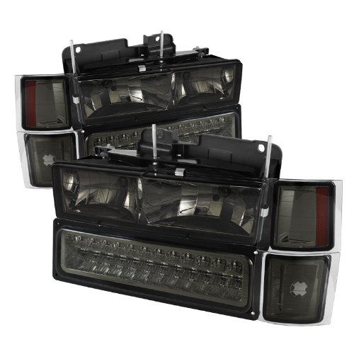 Chevy C/k Series 1500/2500/3500 / Chevy Tahoe /C/k Series 1500/2500/3500 / Chevy Silverado / Chevy Suburban / Chevy Suburban Crystal Headlights w/ Corner & Bumper Chrome Housing with Smoked Lens (1997 Chevy Silverado 1500 Led compare prices)
