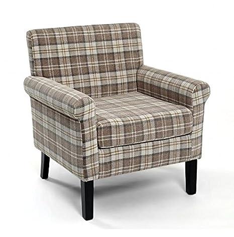 NEW Hamilton Latte Check Fabric Armchair