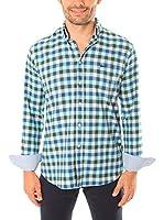VICKERS Camisa Hombre Harvard (Azul / Verde / Blanco Roto)