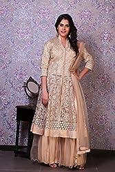 ZariVastram Women's Golden Beige Jacket Style Lehenga Dress