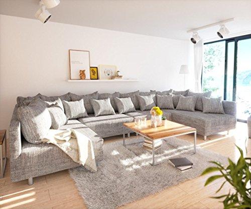 Couch-Clovis-XL-Hellgrau-Strukturstoff-Wohnlandschaft-modular
