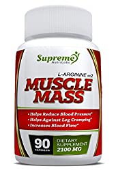 L-arginine - Muscle Mass - 90 Capsules - Nitric Oxide Booster - Protein Synthesis - Essential Amino Acid - Nutritional Supplement - Lowers Blood Pressure - Gets Results
