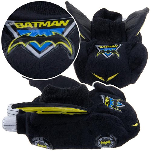 Boy Shoe Size 5-6, Raglan, Justice League, Dc Direct Batman, Soft Plush Comfy Slippers Sock Top Shoes, Great Halloween Costume