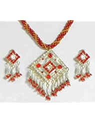 Red And Yellow Twisted Cord Necklace With Red And White Stone Studded And Bead Pendant - Metal