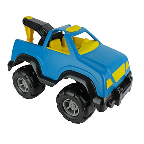 TimMee Big Plastic Tow Truck Blue w/ Yellow Interior 15in USA Made (Max Towing Truck compare prices)