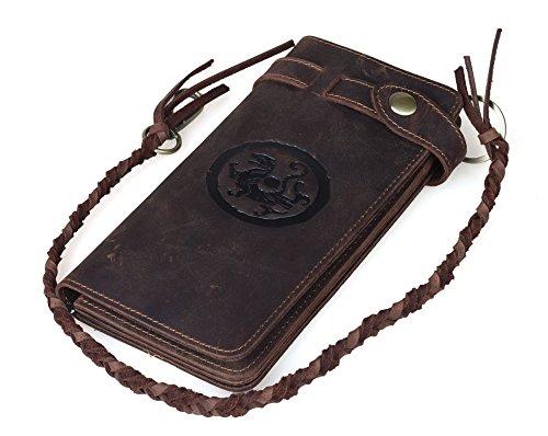 Tiding Men's Brown Crazy Horse Leather Wallet Vintage Style Card Holder Bifold 33777 0