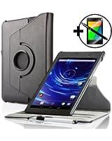 ForeFront Cases® Nouveau Google Nexus 7 FHD Étui en cuir synthétique Cover / Stand Pour Google Nexus 7 FHD Tablet (7-Inch, 16GB, Noir) par ASUS (2013) - Mise en Veille Automatique par Fermeture Magnétique - stylet et protection écran inclus - NOIR