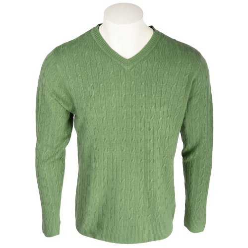 Harbour Classic Men's Sage All Over Cable Knit V-Neck Jumper In Size Small