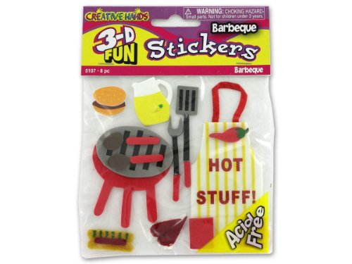 3-D Barbecue Theme Stickers - Case of 72