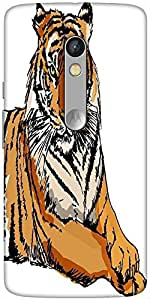 Snoogg Sketch Of White Tiger Vector Illustration Solid Snap On - Back Cover A...