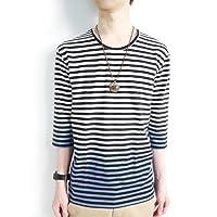 (モノマート) MONO-MART 4色 グラデーション ボーダー 7分袖 カットソー Tシャツ メンズ