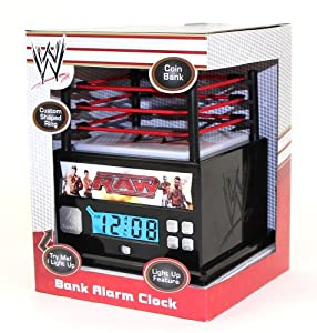 WWE Raw Wrestling Ring Alarm Clock Bank with Light Up Mat from M.Z. Berger & Co., Inc
