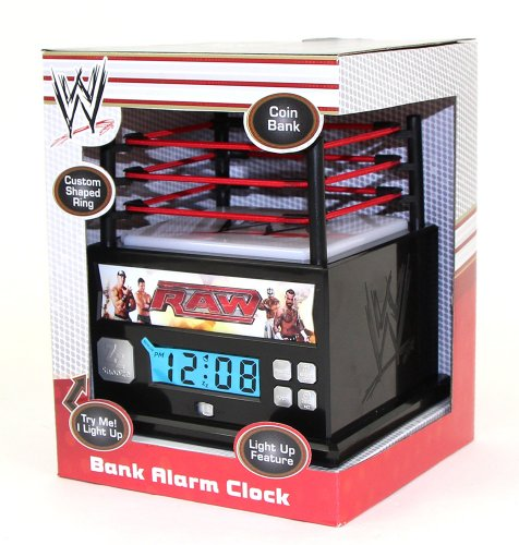 Unique WWE Raw Wrestling Ring Alarm Clock Bank with Light Up Mat
