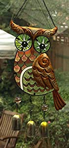 Wise Owl Colour Glass Sun Catcher Wind Chime Green Wall Art Hanging from Sil