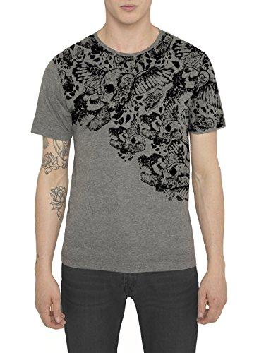 Designer T Shirt Moda Uomo Urban Fashion Rock Style Grigio con Stampa - SPARTAN WARRIOR - Maglia in Cotone Jersey e Stampa di Alta Qualita - Girocollo - RADDAR7 Smart Casual Collezione