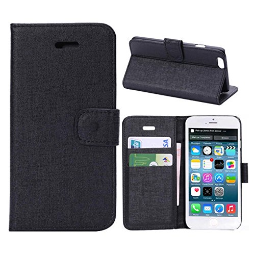 Iphone 6 Phone Case Borch Fashion Multi-Function Wallet For Iphone 6 Case Luxury Pu Leather Carrying Case Cover With Credit Id Card Slots/ Money Pockets Flip Leather Case For Iphone 6 5.5 Inch Borch Screen Protector (Black)