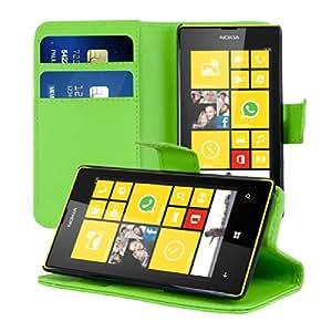 kwmobile Wallet Case Hülle für Nokia Lumia 520 - Cover Flip Tasche mit Kartenfach und Ständerfunktion in Grün